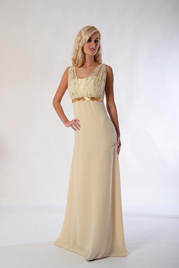 Empírové šaty se zlatým zdobením velikost 36-38, 38