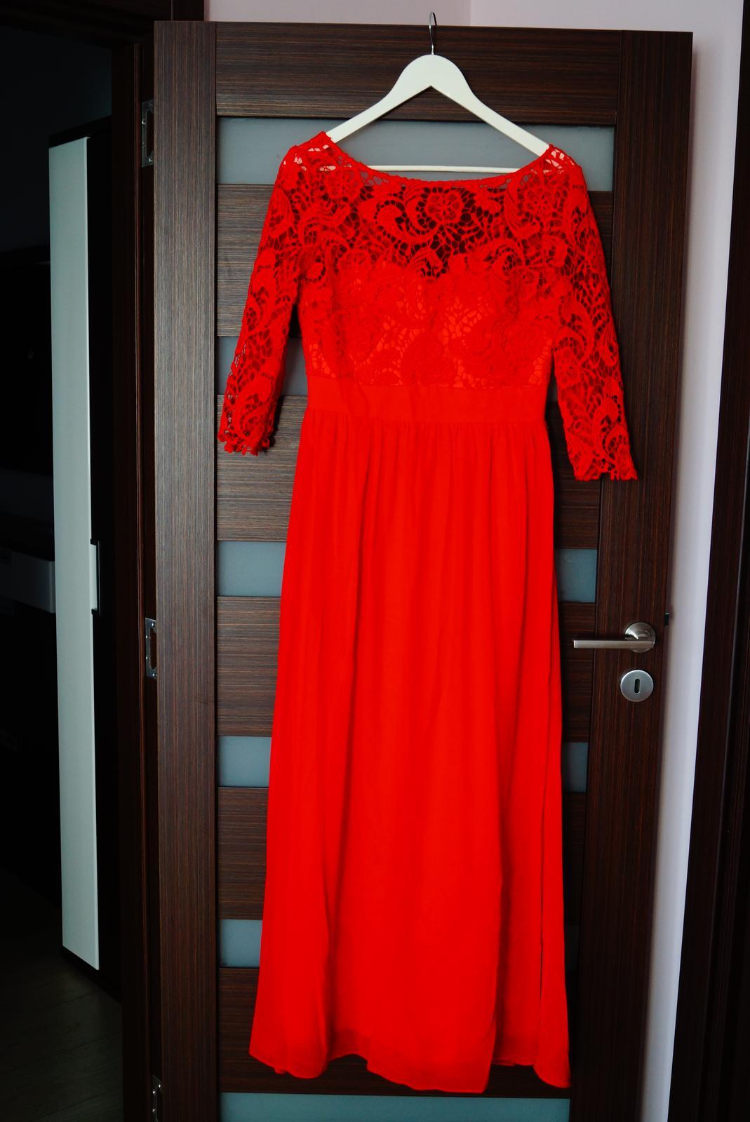 Červené šifónové šaty s čipkou faabbc235c