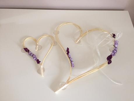 Dekorace na auto - ratanové srdce lila 2 ks,