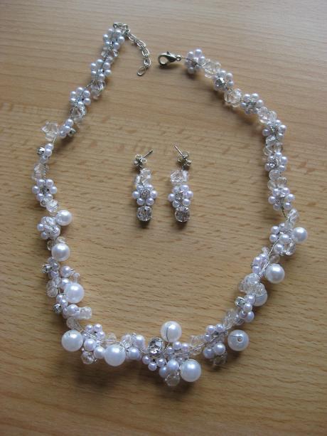 Svadobná bižutéria - perličky s jemným štrasom,