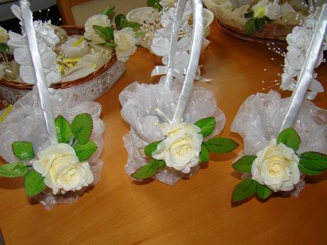 Svadobné košíky bielozlaté, 2 ks,