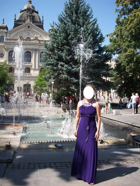 Fialové spoločenské šaty - dlhé, 38