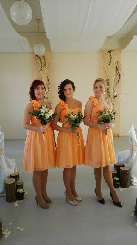 meruňkové šaty pro družičky vel.34 , 34