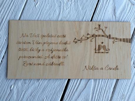 Dřevěné oznámení do obálky 50ks,
