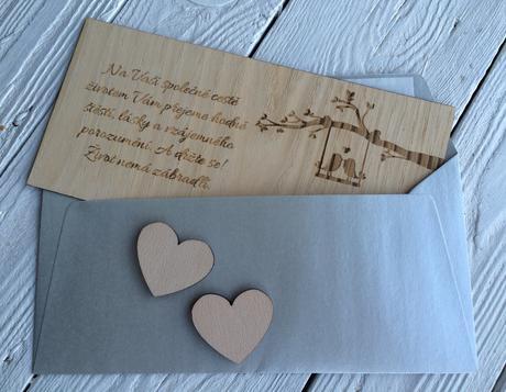 Dřevěné přání do obálky,