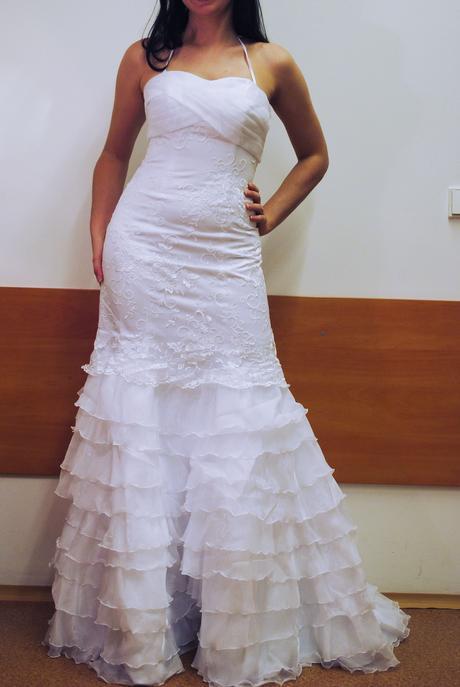 Bílé jednoduché originální svatební šaty 36, 36