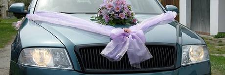 Šerpa na auto nevěsty tvar V,