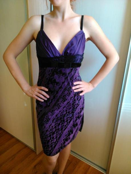 Čierno fialové šaty , M