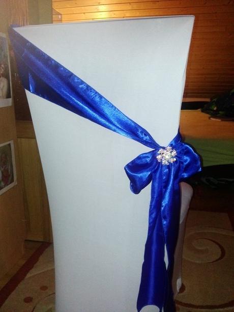 Saténová mašla královska modra ,