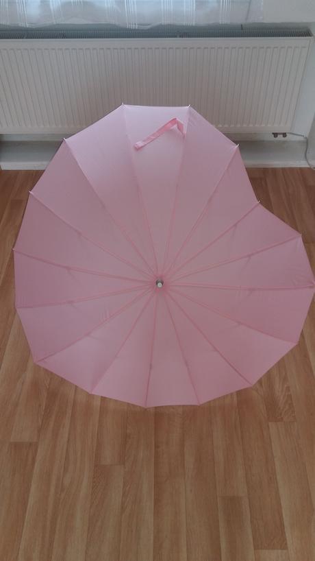 Růžový deštník srdce,
