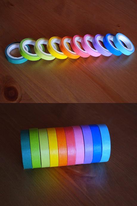 Duhové dekorační washi pásky - sada 10 barev,