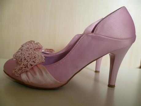 Růžové boty lodičky s krajkovou mašlí, 38