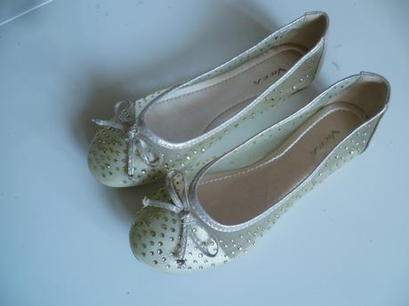 Svatební boty baleríny balerínky zlaté s kamínky, 37