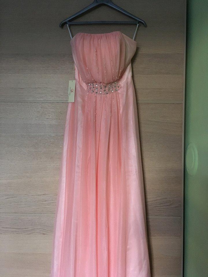 Lososové plesové šaty s korálky v pase vel. 38-40 47b8cced61