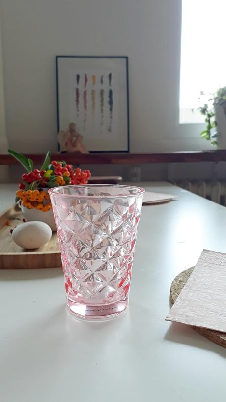 svícen vázička Facet glass Rose Tine K Home, 10 cm,