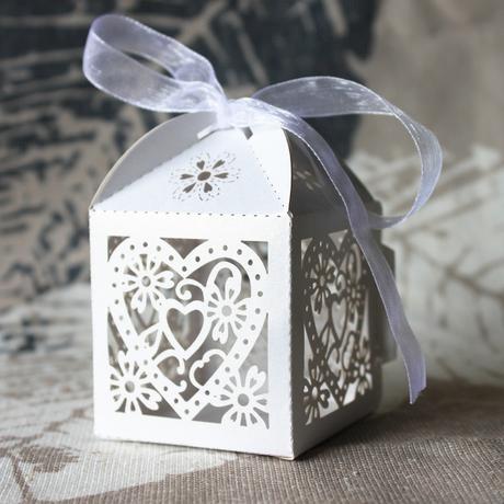 Svatební krabička krajková - 50ks,