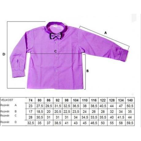 Fialová košile s motýlkem,krátký rukáv,vel. 74-140, 140