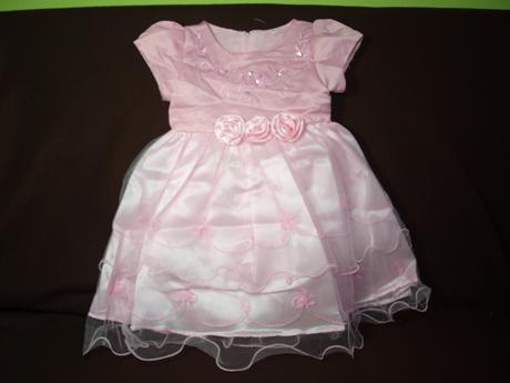šaty pro družičky ve věku 2-8 let-růžové, 116