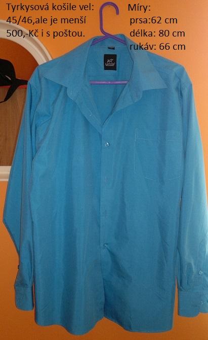 Pánská tyrkysová košile  2b6b6da5b4