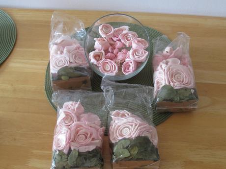 dekorační květy růží, 4 pytlíky,