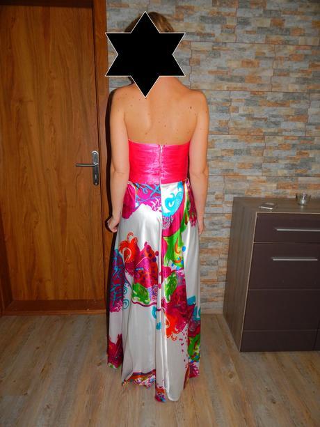 Růžové společenské šaty vel. 36-38, 36