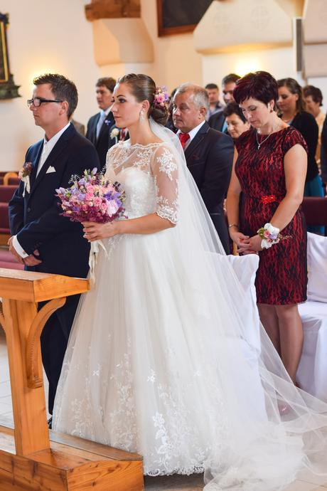 Romantické čipkované svadobné šaty, 36