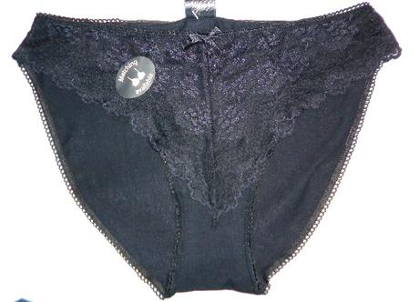 černé krajkové bavlněné kalhotky, 38