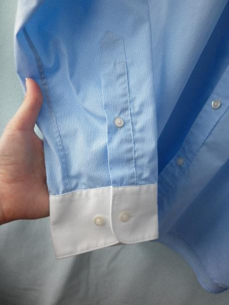 panská modrá košile s jemnou kostkou, 40