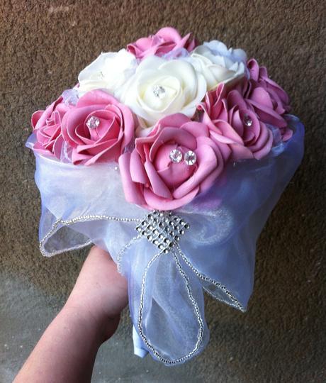 Svatební kytice+ korsáž- růžová,