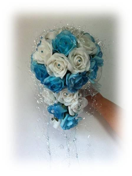 Svatební kytice - modřenka(umělé květy),