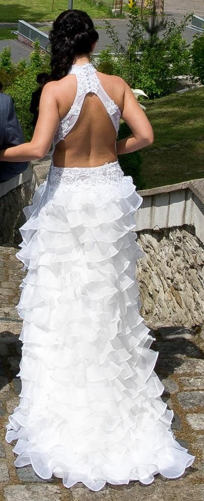 Svatební šaty - originální střih, 36