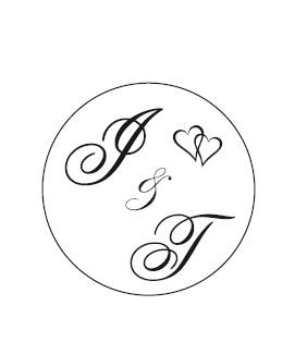Svadobná pečiatka s iniciálmi I & T ,