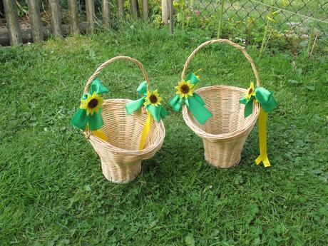 Košíčky pro družičky se slunečnicemi,