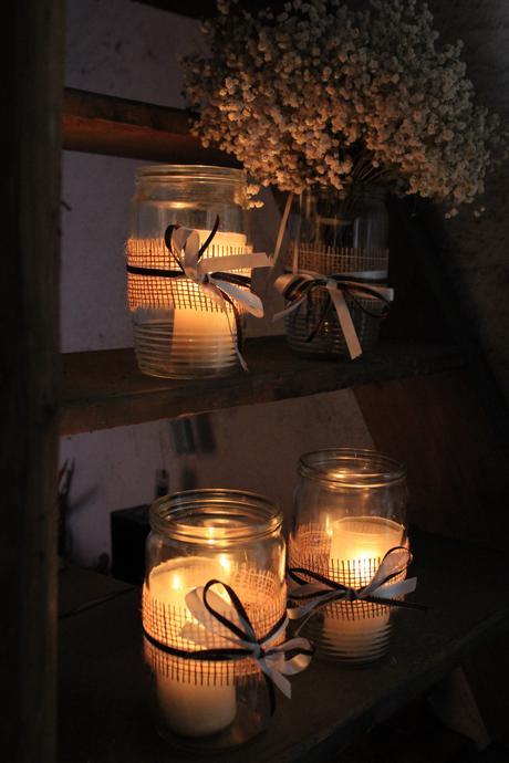 Zdobené zavařovací sklenice (na svíčku či květiny),
