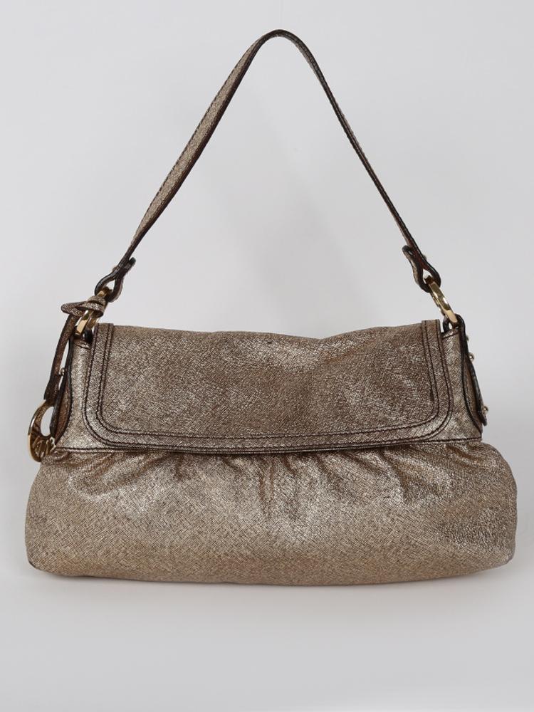 e1ca01e291 Fendi zlatá kožená kabelka s príveskom originál