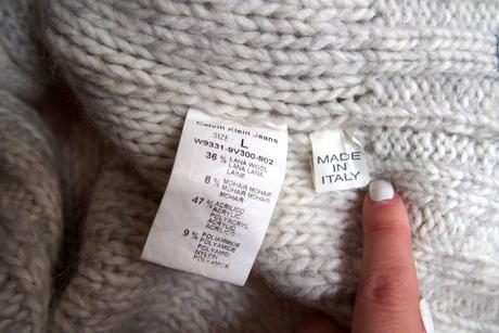 Calvin Klein teplý melírovaný sveter vlna+mohér, M