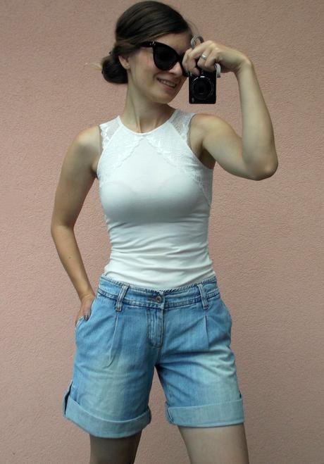 H&M sexy biely top s čipkou, XS
