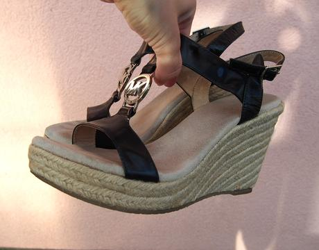 Michael Kors Black Leather Logo Wedge Sandals, 38