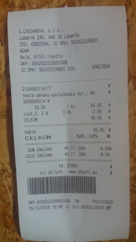 vesta +kravata Adam značková, kvalitná, 46