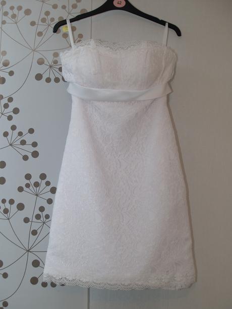 Krajkové svadobné šaty, krátke, 36