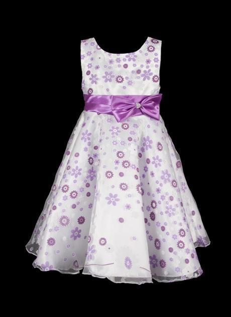 šaty pro družičky-bílý podklad s lila květinami, 134