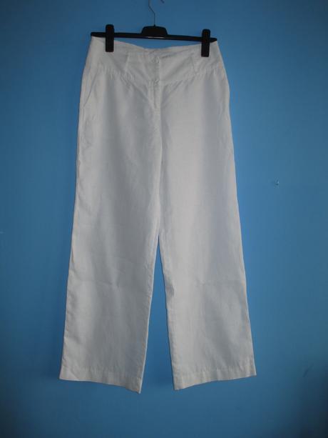 Bílé lněné kalhoty, 40