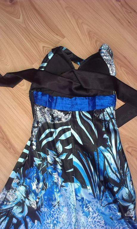 šaty dlhe modro tyrkysove, 38