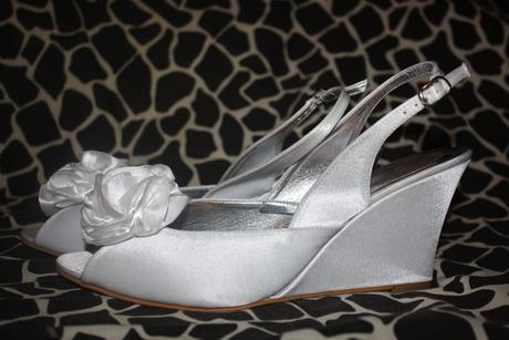 Svadobné saténové sandále na platforme, 41