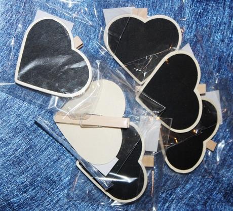 Tabuľka v tvare srdca so štipcom 6ks,