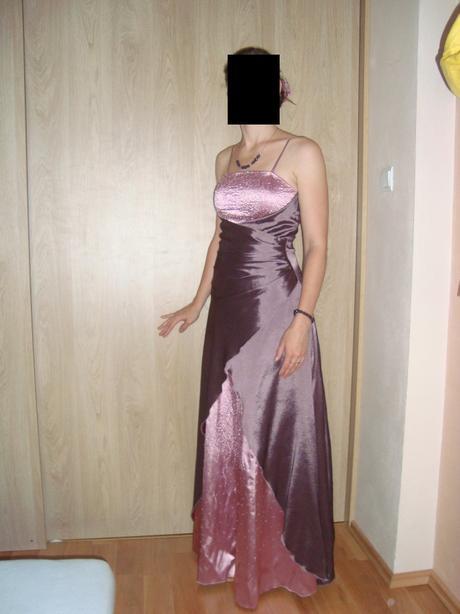 Dlhé spoločenské šaty fialovo-ružové, 38