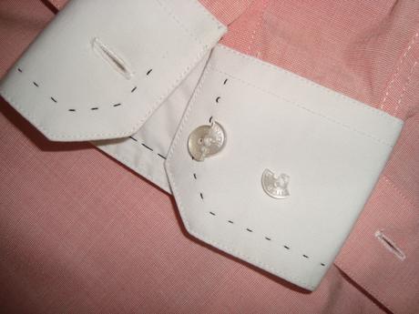 Ružová košeľa s prešívanými detailmi, 40