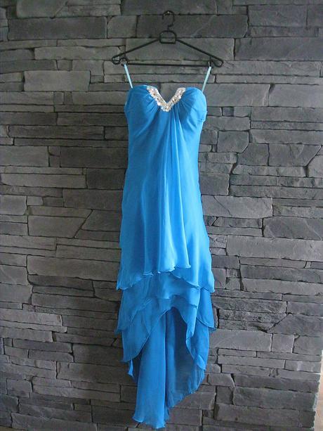 Azúrové šifónové šaty-šnurovačka-nenosené, S