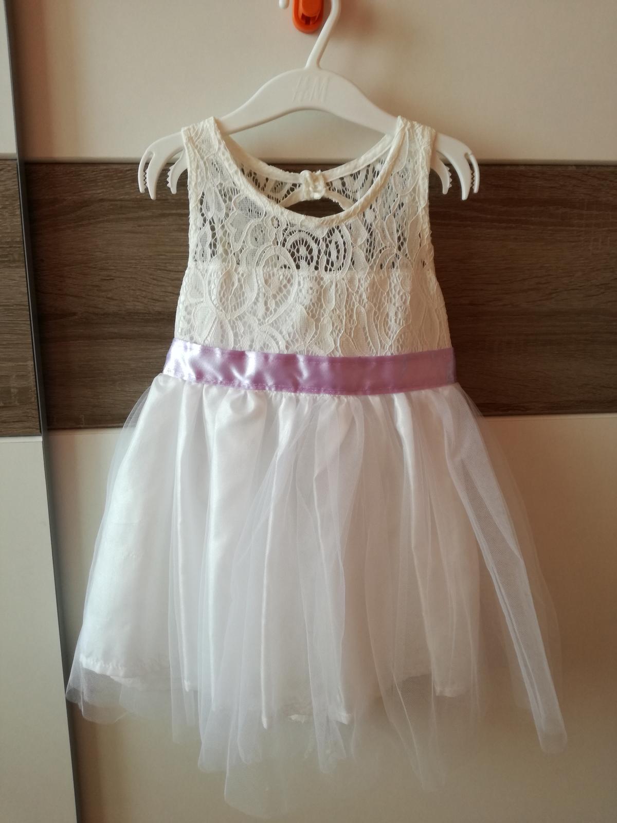 ba5ff39540f Dětské šaty pro družičku - sněhově bílé s fialovou