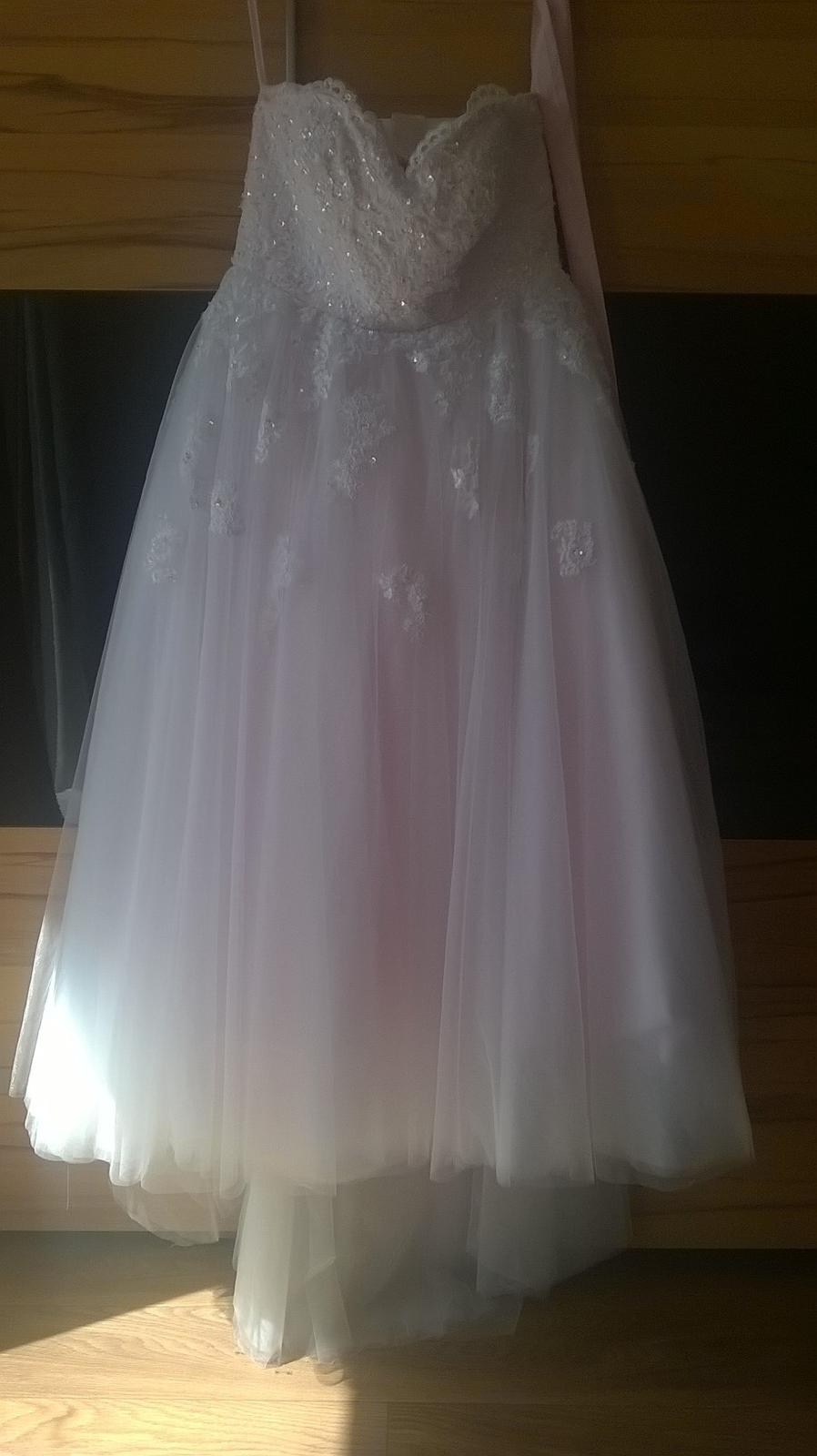 b35fccf74a89 Svatební šaty vel.46-48 -hit sezony-pudrová barva